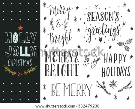 Holly Jolly. Hand drawn Christmas holiday collection with lettering and decoration elements for greeting cards, stationary, gift tags, scrapbooking, invitations. - stock vector