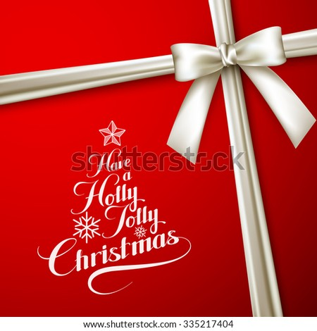 Holly Jolly Merry Christmas. Vector Holiday Illustration. Lettering Label Have A Holly Jolly Christmas On Red  Background With White Ribbon - stock vector