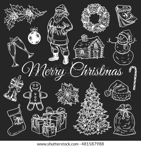Holly jolly Merry Christmas vector set of icons