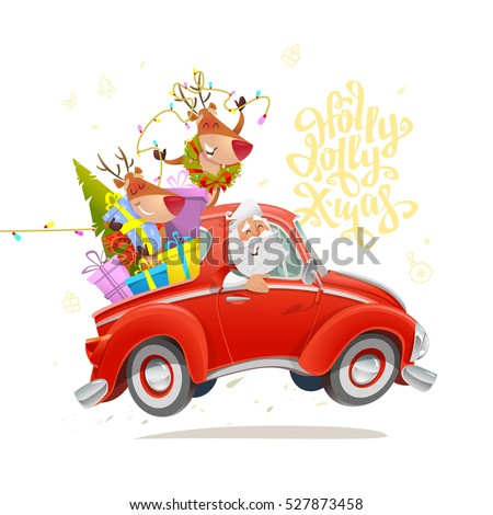Holly Jolly Xmas card. Cute Christmas characters Santa with reindeers in red car. Creative decoration element for Holiday Greeting Gift Party Poster. Isolated vector on white background
