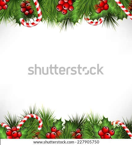holly sprigs with pine branches and candy canes isolated on white background - stock vector