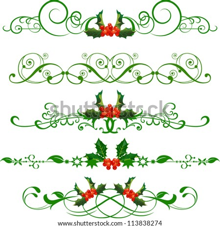 Holly. Vector Set . Christmas - stock vector