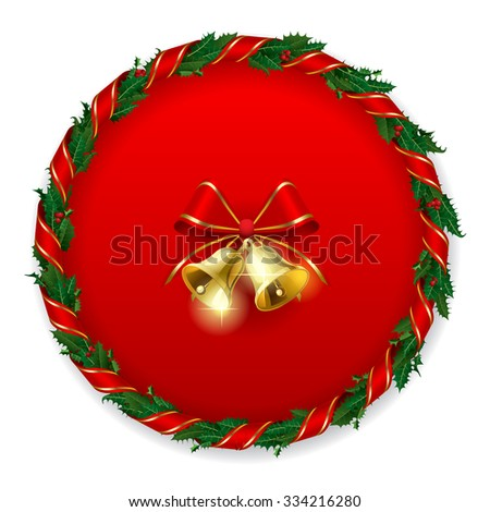 Holly wreath with gold bells on the round red background. Christmas and New Year greeting card. Vector illustration