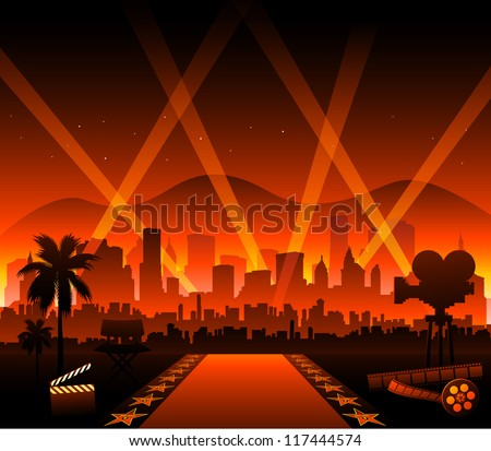 Hollywood movie red carpet - stock vector