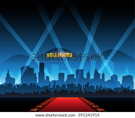 Hollywood movie red carpet background and city - stock vector