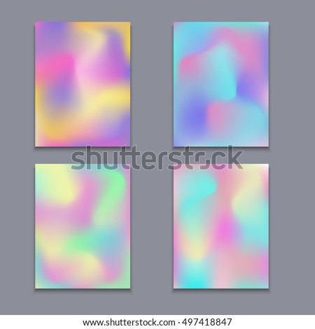 Hologram bright colorful backgrounds set. Vector mesh template.  Design for greeting card, report, cover, book, print,poster,brochure,magazine