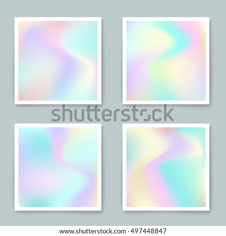 Hologram hipster backgrounds set in pastel colors.Vector mesh template. Design for greeting card, report, cover, book, print,poster,brochure,magazine