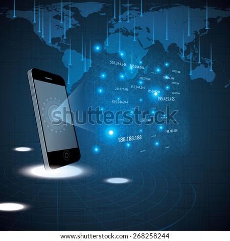 Hologram style futuristic design blue background illustration - stock vector
