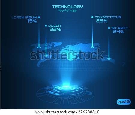 Hologram world map background perspective vector vector de hologram world map background in perspective vector eps10 gumiabroncs Choice Image