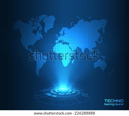Hologram world map. Vector eps10. - stock vector