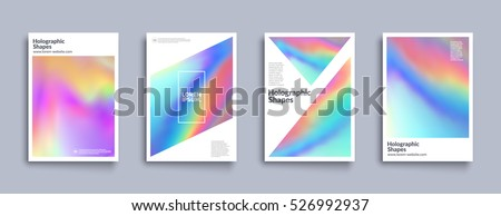 Holographic shapes backgrounds set. Modern geometric covers design. Applicable for gift card,cover,poster,brochure,magazine. Eps10 vector template.