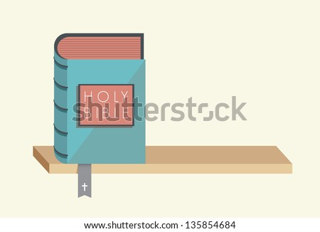 Holy Bible with bookmark and christian cross on the bookshelf with copy space.  You can add any text you want. Concept for bible commandments and rules. - stock vector
