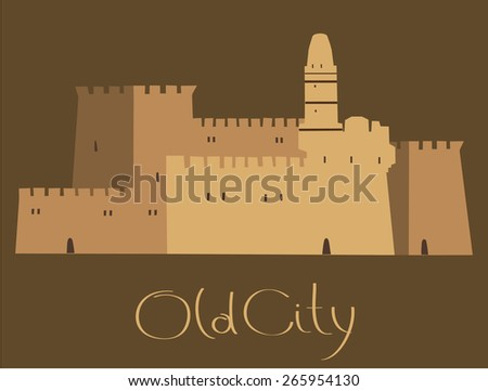 Holy City, Middle East Town, Jerusalem, Vector illustration - stock vector