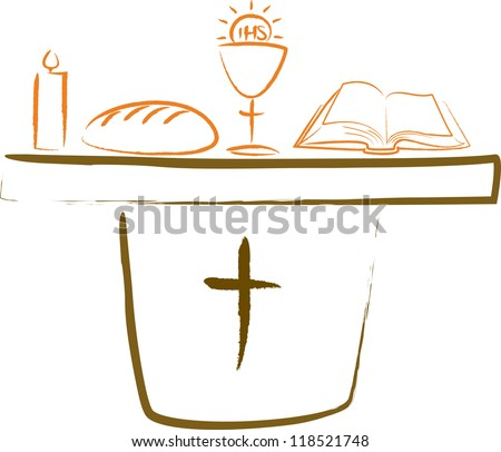 holy communion - altar and religious symbols - stock vector