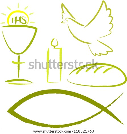 holy communion - religious symbols - stock vector