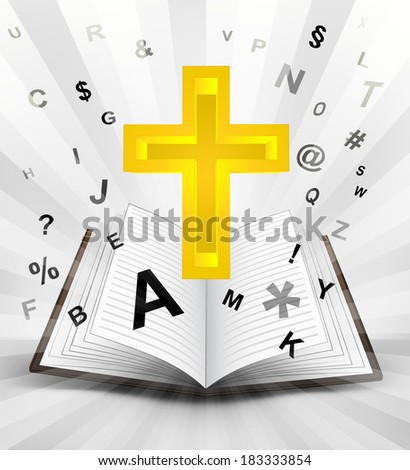 holy cross in opened book with flying alphabet concept vector illustration - stock vector