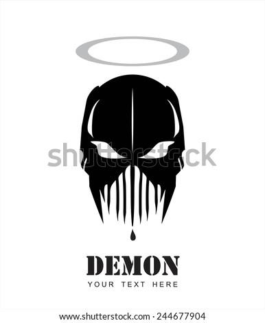 Holy Demon. Mask. Alien.Black Demon. Predator. Artwork. - Illustration. - stock vector