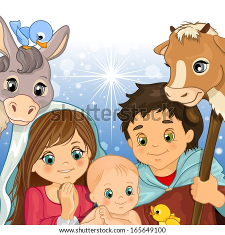Holy Family in the foreground with ox and donkey-transparency and blending effects gradient mesh-EPS 10 - stock vector