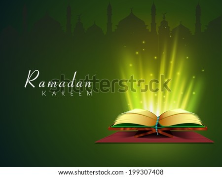Holy illumination coming out from Islamic religious book Quran Shareef on green background for Ramadan Kareem.  - stock vector