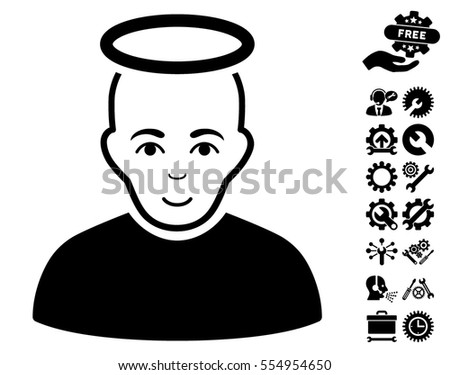 Holy Man pictograph with bonus setup tools pictograms. Vector illustration style is flat iconic black symbols on white background.