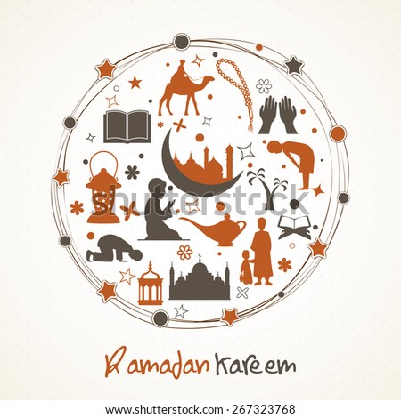 Holy month of muslim community, Ramadan Kareem celebration islamic elements and people to follow their rituals in a rounded frame. - stock vector