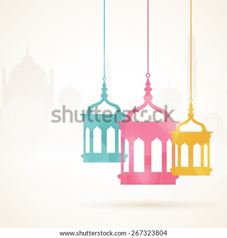 Holy month of muslim community, Ramadan Kareem celebration with colorful hanging arabic lamps on islamic mosque sihouette background. - stock vector