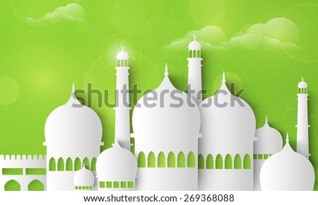 Holy month of muslim community, Ramadan Kareem celebration with illustration of islamic mosque made by paper cutout on cloudy green background. - stock vector