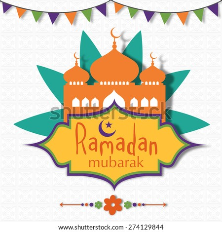 Holy month of Muslim community, Ramadan Kareem celebration with mosque on seamless floral design decorated background.  - stock vector