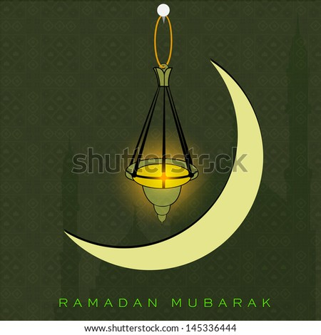 Holy month of muslim community Ramadan Kareem with shiny moon and hanging arabic lantern on abstract green background.