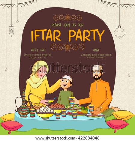 Holy Month of Prayers, Ramadan Kareem, Iftar Party Invitation Card Design with illustration of a happy family enjoying delicious food. - stock vector