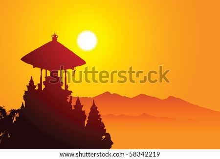 Holy place on Bali, Indonesia - stock vector