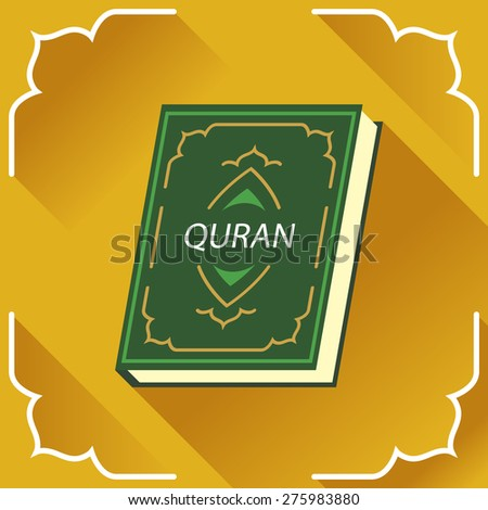 Holy Quran. Islamic book. Logo, card, symbol, design element in flat style. - stock vector