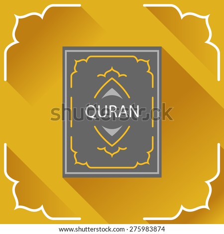 Holy Quran. Koran. Islamic book. Logo, card, symbol, design element in flat style. - stock vector