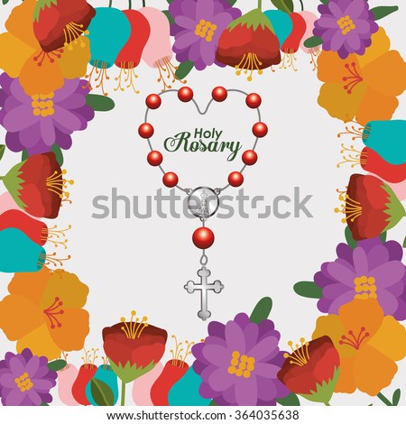 holy rosary design  - stock vector