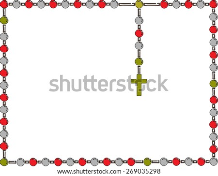Holy Rosary. Frame with rosary. Brown wooden catholic rosary beads, religious symbols, rosary necklace, praying symbol. Vector illustration. - stock vector