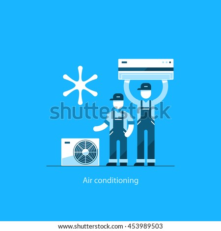 air conditioning services icon. home air conditioning service, climate control concept, house cooling icons, repairman in uniform services icon