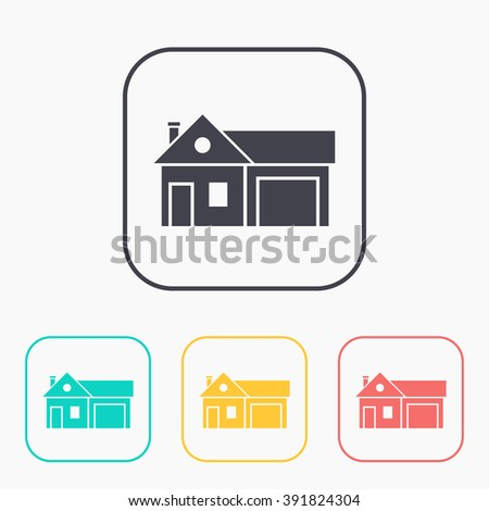 Home and garage, vector color icon set - stock vector