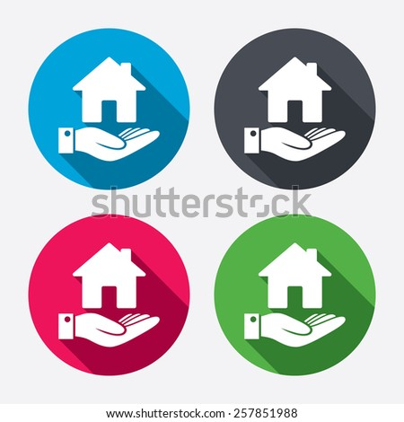 Home and hand sign icon. Palm holds house symbol. Circle buttons with long shadow. 4 icons set. Vector - stock vector