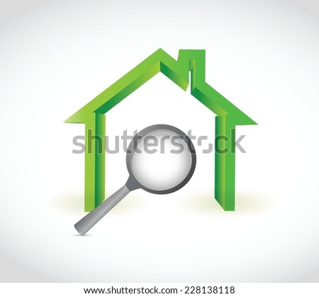 home and magnify illustration design over a white background - stock vector
