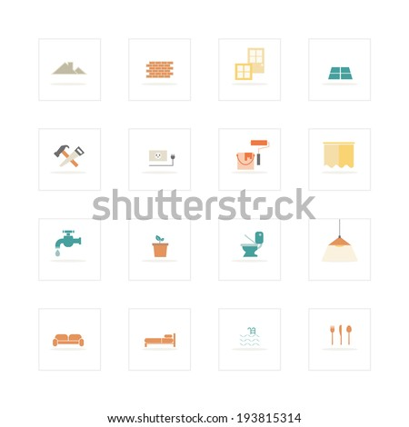 Home and material icons set. - stock vector