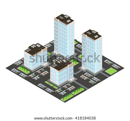 Home and residents in urban housing projects.  A vector illustration of an Apartment Building Complex Icon.  Large residential apartment complex with parking facilities.