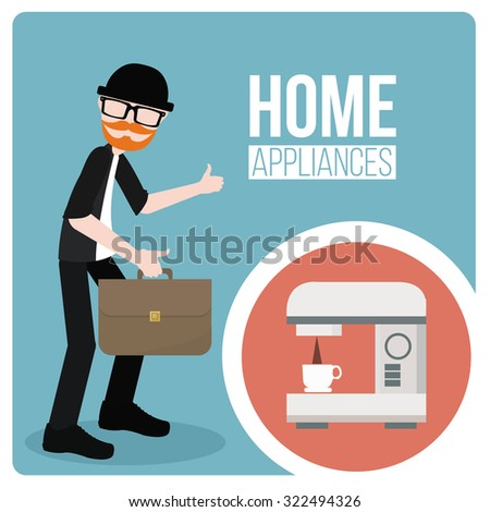 Home Appliance Coffee Maker Illustration Over Stock Vector 322494326 ...