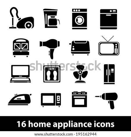 home appliance icons - stock vector
