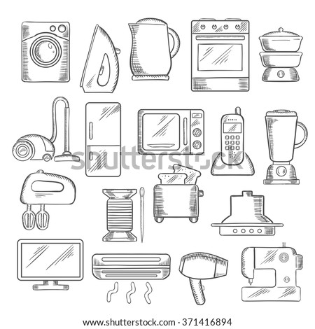 Home appliance icons with microwave, vacuum, iron, refrigerator, toaster, tv set, washing and sewing machine, blender, mixer, fan, stove, kettle, air conditioner, telephone, steamer and cooker hood