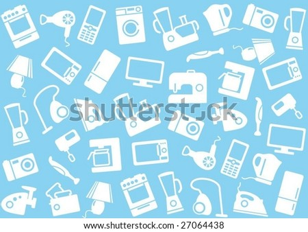 Home appliances a background - stock vector