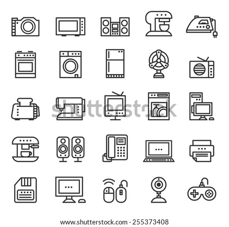 Home appliances and equipment icons vector modern line style, black on white isolated background - stock vector