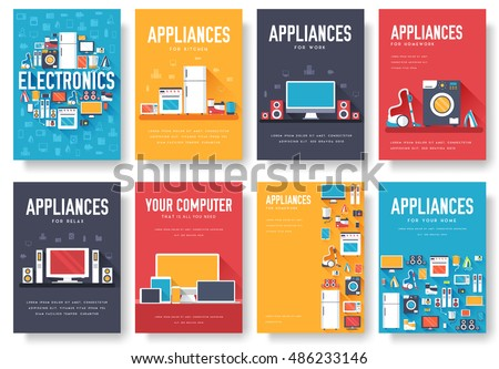 Home Appliances Cards Set Electronics Template Stock