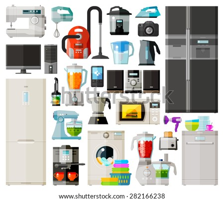 home appliances icons set. set of elements - sewing machine, vacuum cleaner, mixer, computer, fridge, coffee machine, juicer, phone, washing machine, food processor, toaster, dishwasher, microwave - stock vector