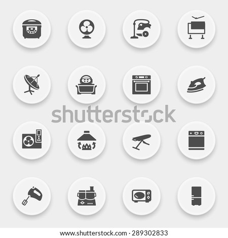 Home appliances icons with buttons on gray background.
