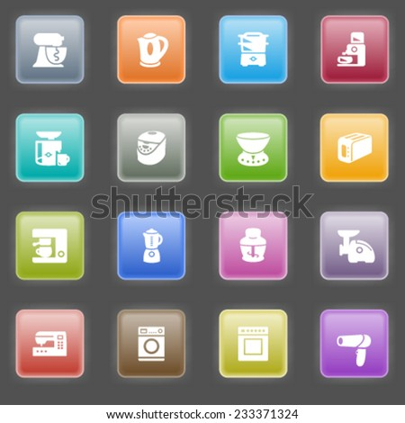 Home appliances icons with color buttons on black background.